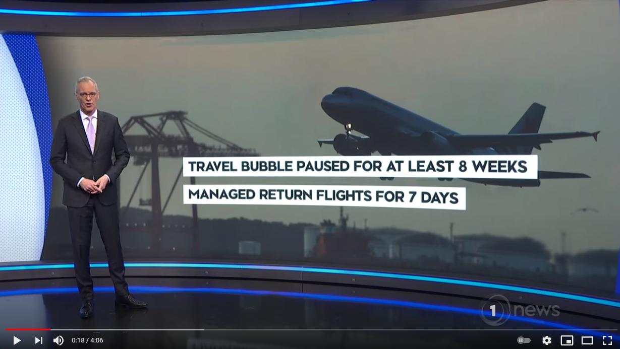 Australisch-Neuseeländische Reiseblase ausgesetzt für mindestens 8 Wochen